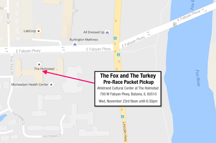 The Fox and The Turkey Pre-Race Packet Pickup Location