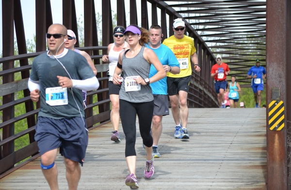 Crossing the La Fox Bridge during the Great Western Half Marathon