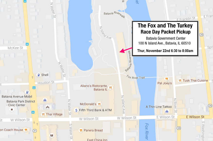 The Fox and The Turkey Race Day Packet Pickup Location