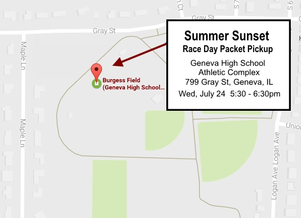 Summer Sunset Race Day Packet Pickup Location